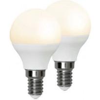 LED-polttimo Star Trading Promo, E14, 3W, 3000K, 8,2cm, opaali, 2 kpl