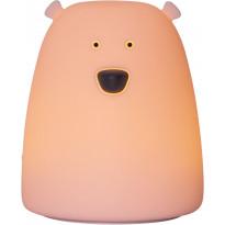 LED-yövalo Star Trading Little Bear, Ø88x103mm, vaaleanpunainen