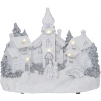 LED-pöytäkoriste Star Trading Churchville, 230x180x145mm, valkoinen
