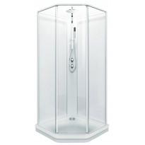 Suihkukaappi Fasett 90x90, valkoinen/kirkas lasi, profiili valkoinen matta