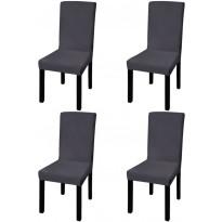 Suora venyvä tuolinsuoja 4 kpl antrasiitti