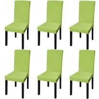 Suora venyvä tuolinsuoja 6 kpl vihreä