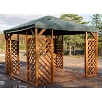 Paviljonki Lux A116R 400x400 cm + peite ruskea/vihreä