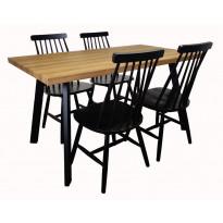Ruokailuryhmä Tenstar, West 140 -ruokapöytä + 4kpl mustia Sophia-tuoleja