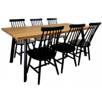 Ruokailuryhmä Tenstar, West 180 -ruokapöytä + 6kpl mustia Sophia-tuoleja