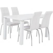 Ruokailuryhmä Tenstar, Metro 140 -ruokapöytä + 4kpl valkoisia Krista-tuoleja