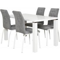 Ruokailuryhmä Tenstar, Metro 140 -ruokapöytä + 4kpl harmaita Krista-tuoleja