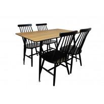Ruokailuryhmä Tenstar, ruskea Mexico-ruokapöytä + 4kpl mustia Sophia-tuoleja
