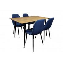 Ruokailuryhmä Tenstar, ruskea Mexico-ruokapöytä + 4kpl sinisiä Koo-tuoleja
