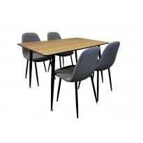 Ruokailuryhmä Tenstar, ruskea Mexico-ruokapöytä + 4kpl harmaita Koo-tuoleja