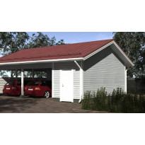 Sivusta ajettava autokatos seinällä ja eristettävällä varastolla kahdelle autolle, kerrosala 17m²
