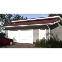 Sivusta ajettava autotalli murretulla harjakatolla ja eristettävällä varastolla kahdelle autolle. Kerrosala 61 m²
