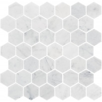 Marmorimosaiikki Bianco Carrara Hexagon, kiillotettu, 325x315x10mm