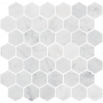Marmorimosaiikki Carrara Hexagon, kiillotettu, 325x315x10mm
