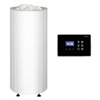 Sähkökiuas Sumu 105 E, erillisellä ohjauskeskuksella, teräsverhoilu, valkoinen 10,5kW (9-15m³), poisto