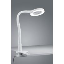 LED-pöytävalaisin Trio Lupo Ø 135x350 mm, valkoinen nipistimellä