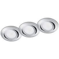 LED-alasvalosarja Trio Rila, ø82x34mm, IP20, kromi, 3 kpl/pkt