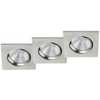LED-alasvalosarja Trio Pamir, 85x85mm, IP23, harjattu teräs, 3 kpl/pkt