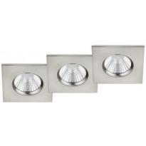 LED-alasvalosarja Trio Zagros, 85x54x85mm, IP65, harjattu teräs, 3 kpl