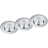LED-alasvalosarja Trio Zagros, ø85x54mm, IP65, kromi, 3 kpl/pkt