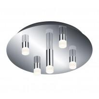 LED-kattoplafondi Trio Zidane, Ø 350x135 mm, 5-osainen kromi
