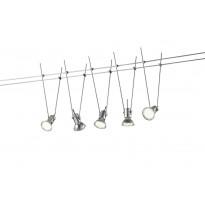 LED-vaijerivalaisin setti Trio Basic, 5 kpl, pituus 5000 mm, titaani