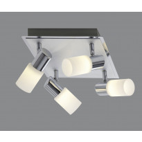 LED-Kattospotti Trio Emilia, 230x230x185 mm, 4-osainen harjattu alumiini