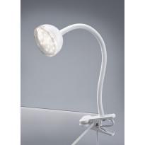 LED-pöytävalaisin Trio Tondo, Ø 80x300 mm, valkoinen nipistimellä