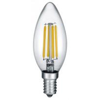 LED-Lamppu Trio E14, filament kynttilä 4W, 470lm 2700K switch dimm