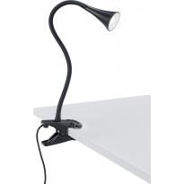 LED-pöytävalaisin Trio Viper, 62x350 mm, musta nipistimellä