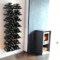 Viinipulloteline 732A, 96 pullolle, seinään