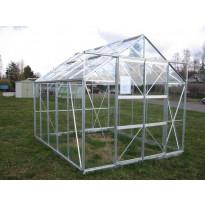 Kasvihuone SUN 810 DD, 8 m², lasi/alumiini, pariovet, sokkeli