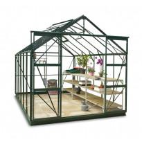 Kasvihuone SUN 810STA DD, 8 m², turvalasi/vihreä, pariovet, sokkeli