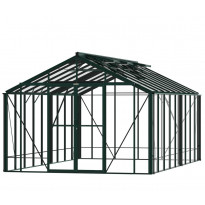 Kasvihuone Robinsons Rosette, 18,3 m², turvalasi/vihreä, sokkeli