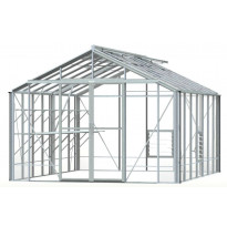 Kasvihuone Robinsons Rosette, 14,4 m², turvalasi/alumiini, sokkeli