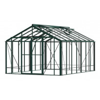 Kasvihuone Robinsons Rosette, 14,4 m², turvalasi/vihreä, sokkeli