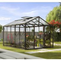 Kasvihuone Vitavia Zeus 10000, 10 m², turvalasi/musta, kennolevykatto, sokkeli