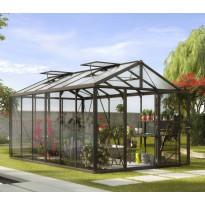 Kasvihuone Vitavia Zeus 11900, 11,9 m², turvalasi/musta, kennolevykatto, sokkeli