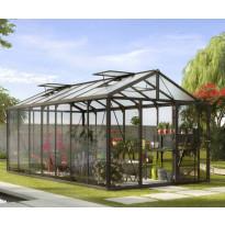 Kasvihuone Vitavia Zeus 13800, 13,8 m², turvalasi/musta, kennolevykatto, sokkeli