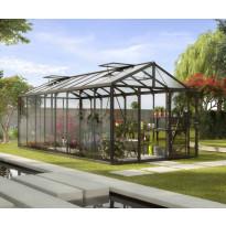 Kasvihuone Vitavia Zeus 15700, 15,7 m², turvalasi/musta, kennolevykatto, sokkeli