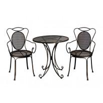 Bistro-setti Chic Garden 3, pöytä + 2 tuolia, musta
