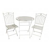 Bistro-setti Chic Garden 2, pöytä + 2 tuolia, kokoontaittuva, valkoinen