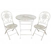 Bistro-setti Chic Garden 1, pöytä + 2 tuolia, kokoontaittuva, valkoinen