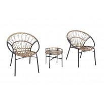 Parvekeryhmä Chic Garden Venetsia, pyötä + 2 nojatuolia, beige/grafiitti