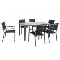 Ruokailuryhmä Chic Garden Firenze, pöytä + 6 tuolia, musta/beige