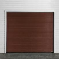 Autotallin nosto-ovi Turner 810E, 2500x2300mm, vaakapaneeli, puukuvio, ruskea
