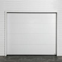Autotallin nosto-ovi Turner 820E, 2500x2125mm, vaakaura, puukuvio, valkoinen