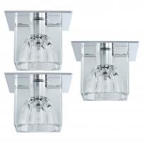 Alasvalosarja Quality Glassy Cube 3x10W, 83x83mm, kirkas/kromi