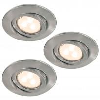 Alasvalosarja Quality LED 3x3,5W, suunnattava, 51mm, harjattu teräs