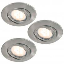 Alasvalosarja Quality LED 3x6,5W, suunnattava, 51mm, harjattu teräs